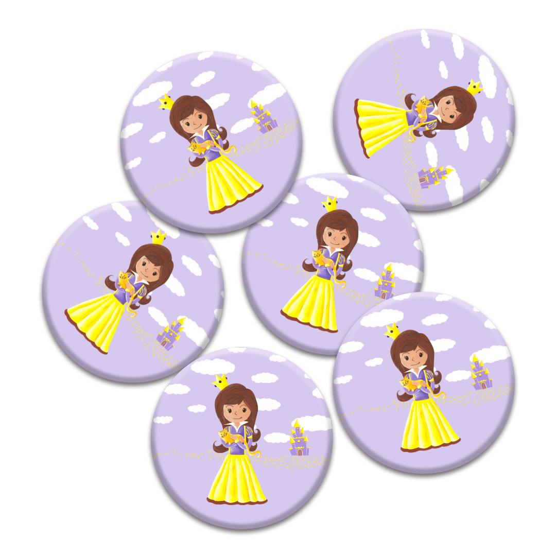 Cadeaux d\'invités pour un anniversaire enfants : 6 badges de princesse