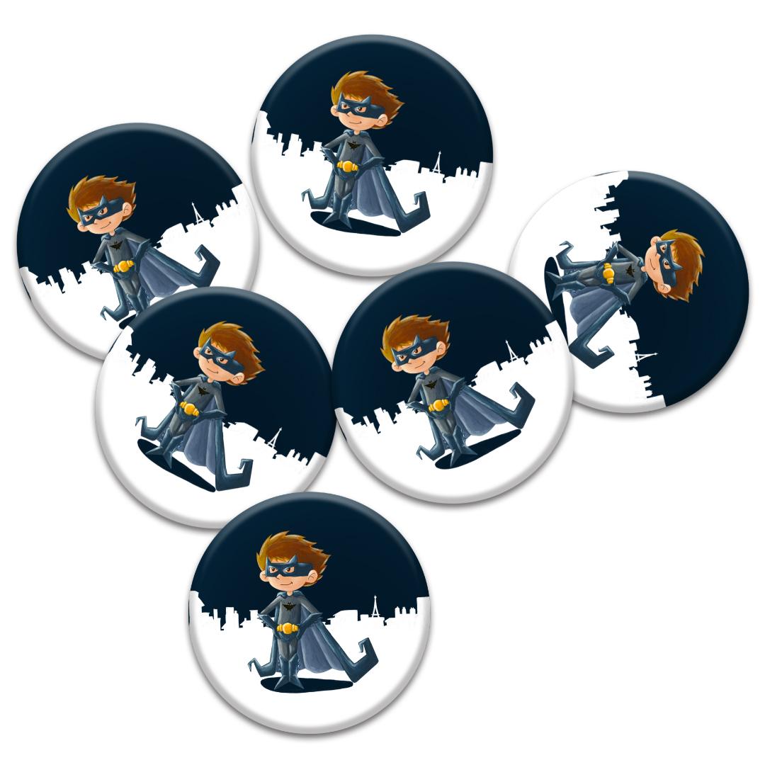 Cadeaux d\'invités pour un anniversaire enfants : 6 badges de Super-Héros inspirés de Batman