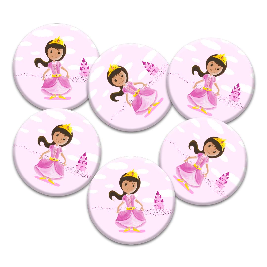 Cadeaux d\'invités pour un anniversaire enfants : 6 badges de princesse …
