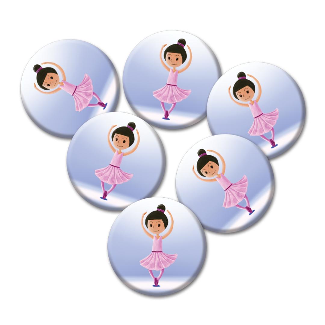 Cadeaux d\'invités pour un anniversaire enfants : 6 badges de danseuse
