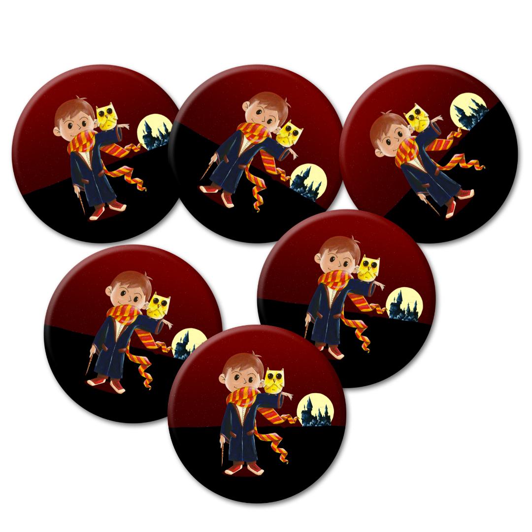 Cadeaux d\'invités pour un anniversaire enfants : 6 badges inspirés de Harry Potter …