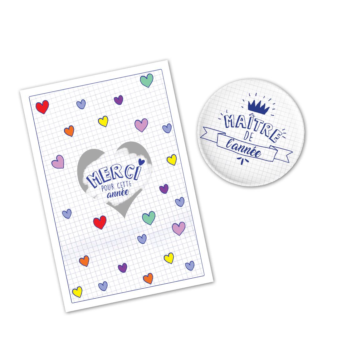 Kit cadeau Maître de l\'année : marque page et maxi badge