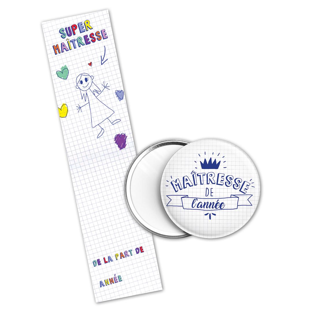Kit cadeau Maîtresse de l\'année : marque page et miroir