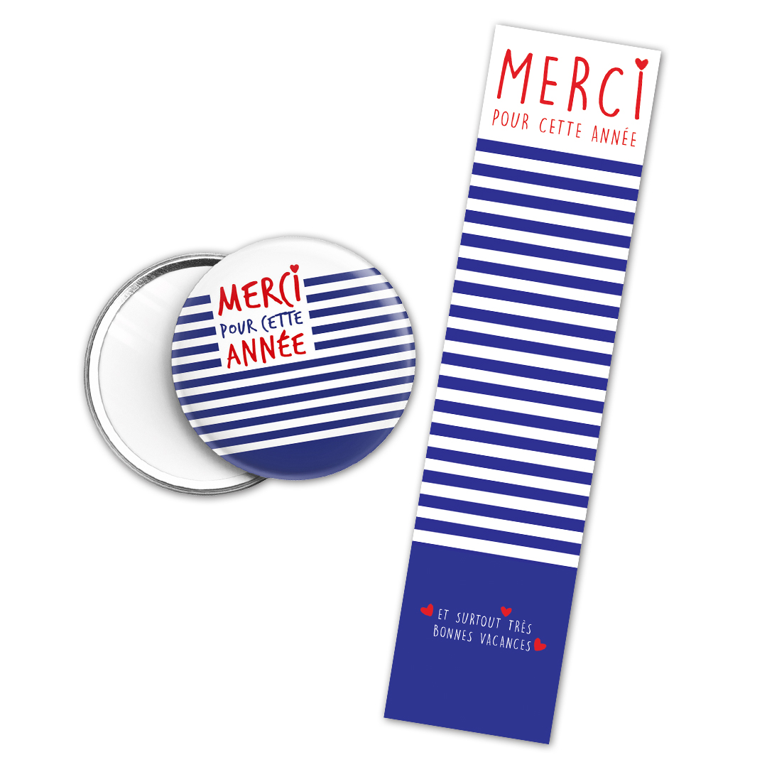 Kit cadeau Merci pour cette année : marque page et miroir