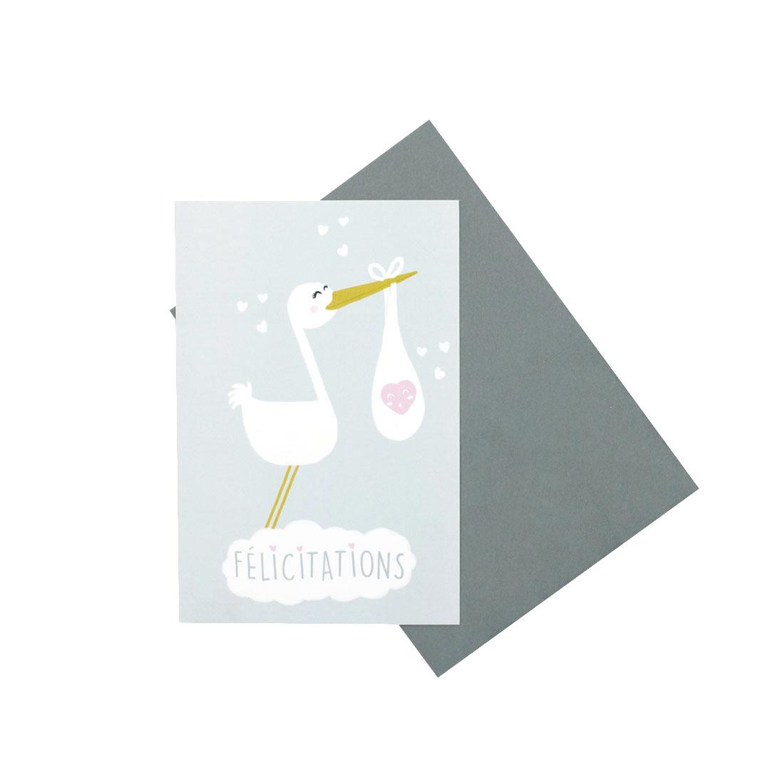 Pack de 5 cartes & enveloppes Félicitation/Naissance – Cigogne …