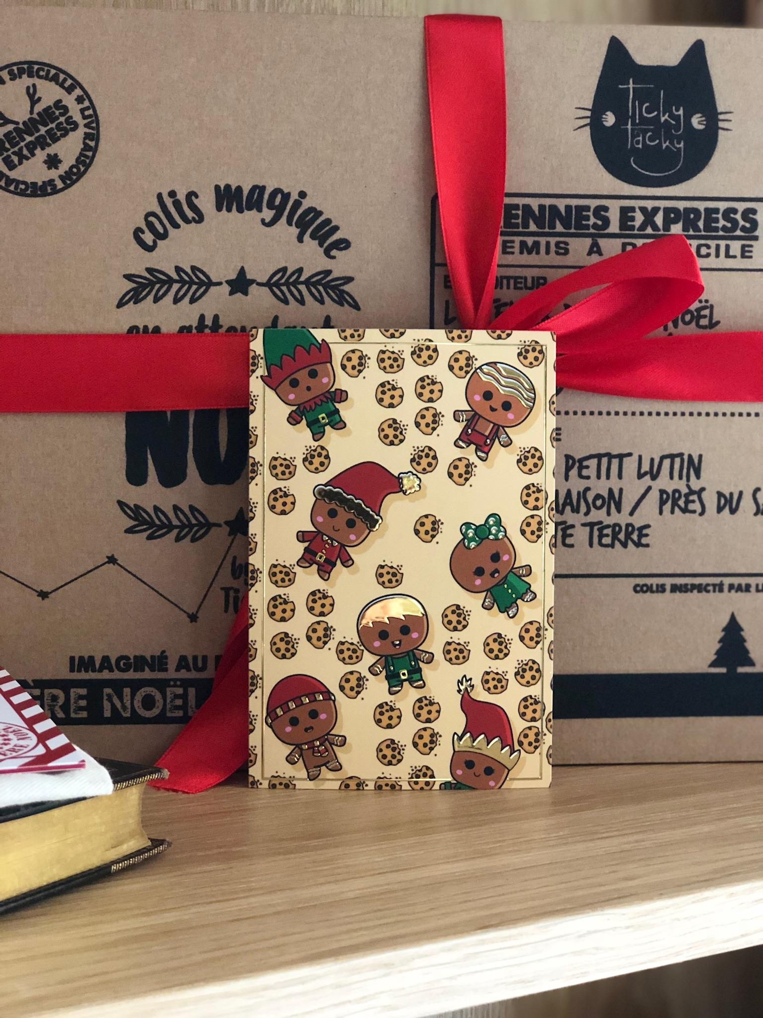 Lot de 5 cartes de Noël Lutins et Cookies avec ses enveloppes