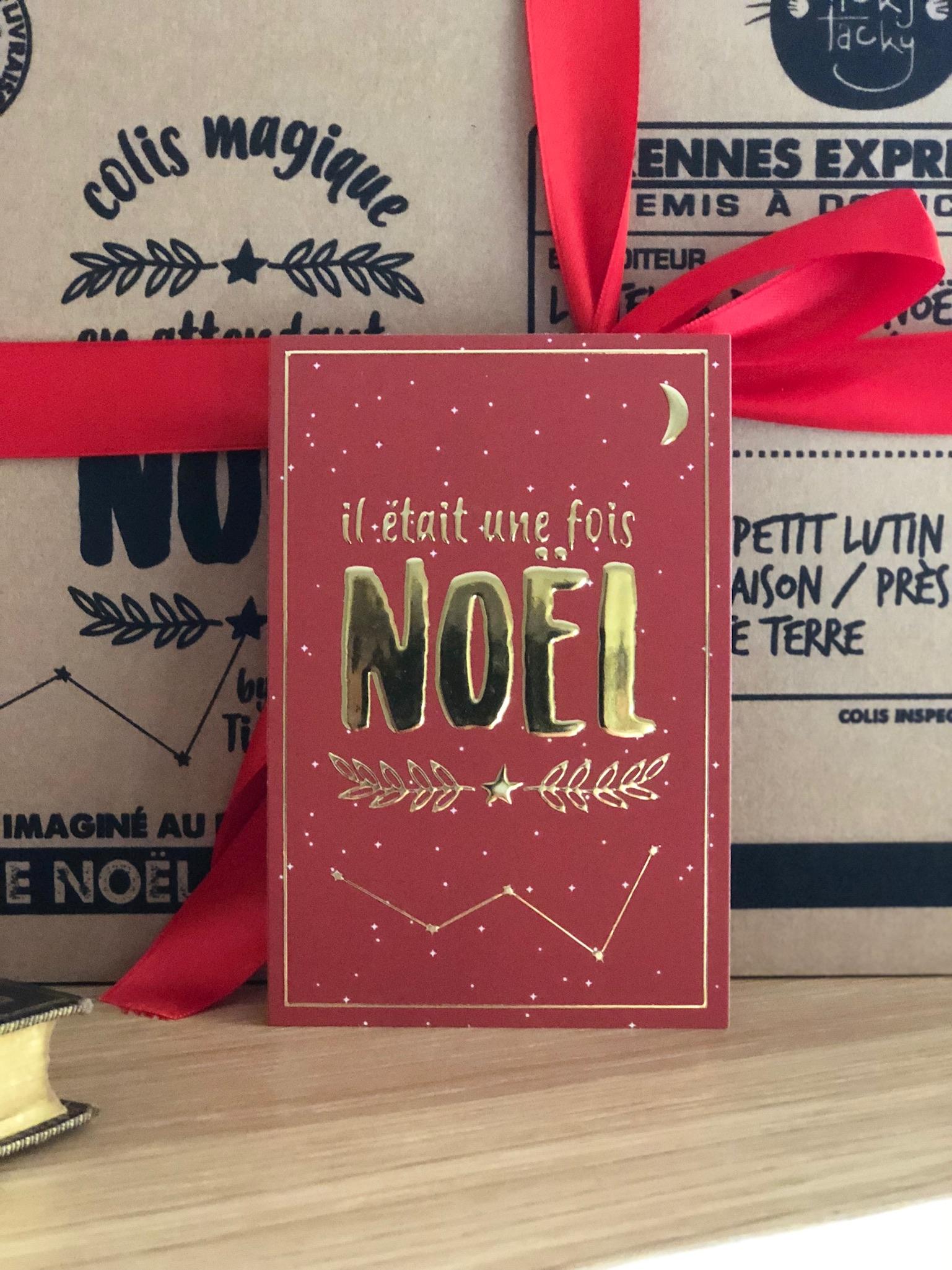 Lot de 5 cartes de Noël Il était une fois Noël avec ses enveloppes