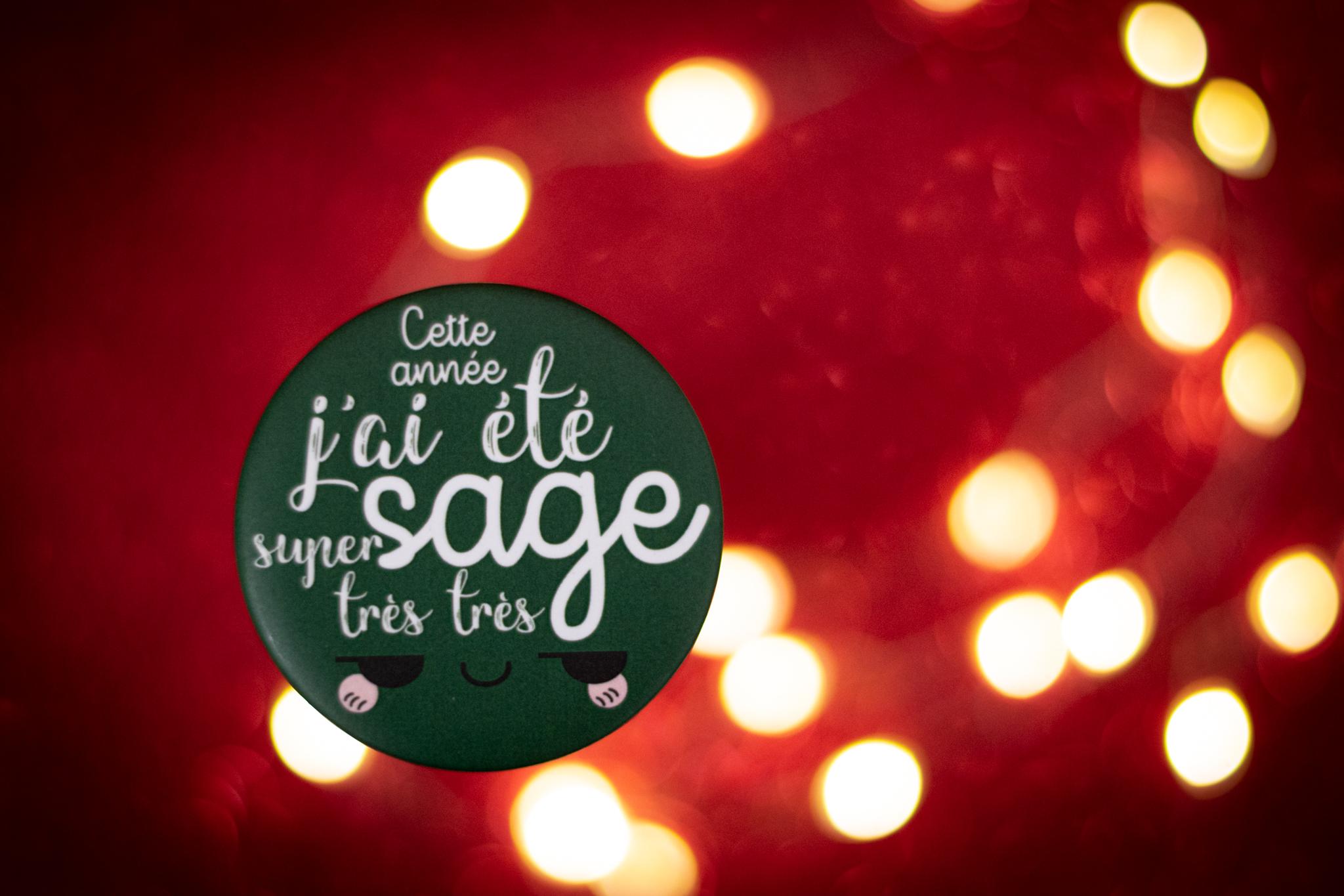 Maxi Badge de Noël : Cette année, j'ai été super très très sage! - version verte