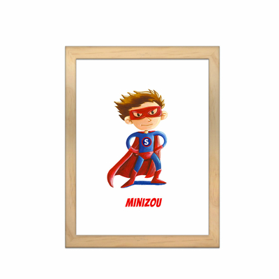 Miniz & Vous - illustration personnalisée -18cm X 24cm – MiniZou le super-héros