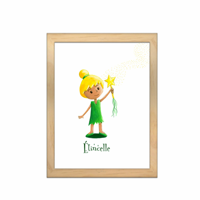 Miniz & Vous - illustration personnalisée -18cm X 24cm – Etincelle inspirée de la Fée Clochette