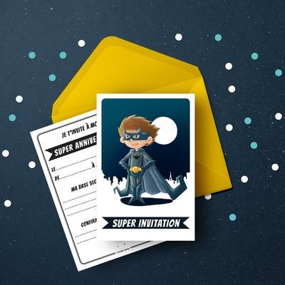 6 Miniz Invit' et enveloppes- Invitation anniversaire Bat le Super-Héros