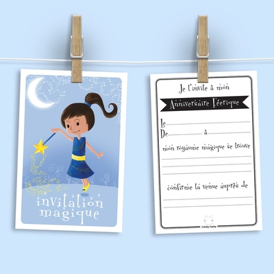 6 Miniz Invit' et enveloppes - Invitation anniversaire Blue La fée