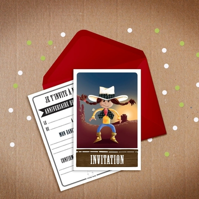 6 Miniz Invit' et enveloppes - Invitation anniversaire Calamity la cow-boy