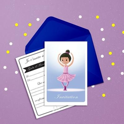 6 Miniz Invit' et enveloppes - Invitation anniversaire Stars la danseuse