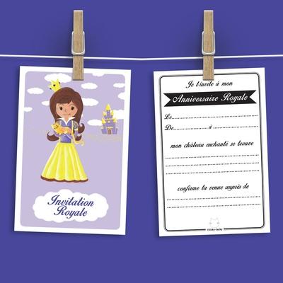 6 Miniz Invit' et enveloppes - Invitation anniversaire Mauve la princesse