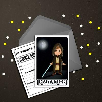 6 Miniz Invit' et enveloppes - Invitation anniversaire Space le Jedi