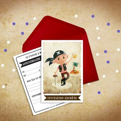 6 Miniz Invit' et enveloppes - Invitation anniversaire Jack le pirate