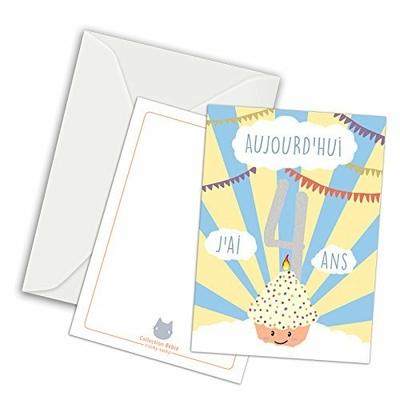 Maxi Carte Etape / Carte Anniversaire / Aujourd'hui, j'ai quatre ans