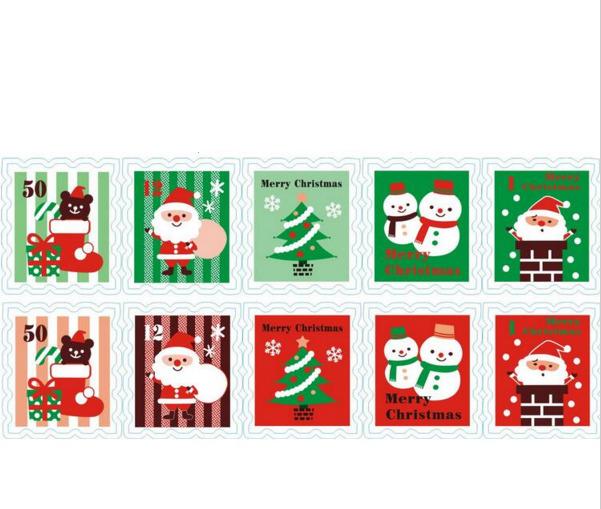 Papa Noël - 10 timbres pour la lettre du Père Noël