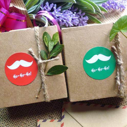 Moustache - 6 stickers de Noël
