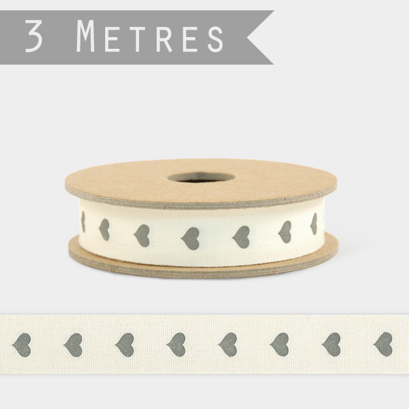 Coeur - 3m de ruban coton