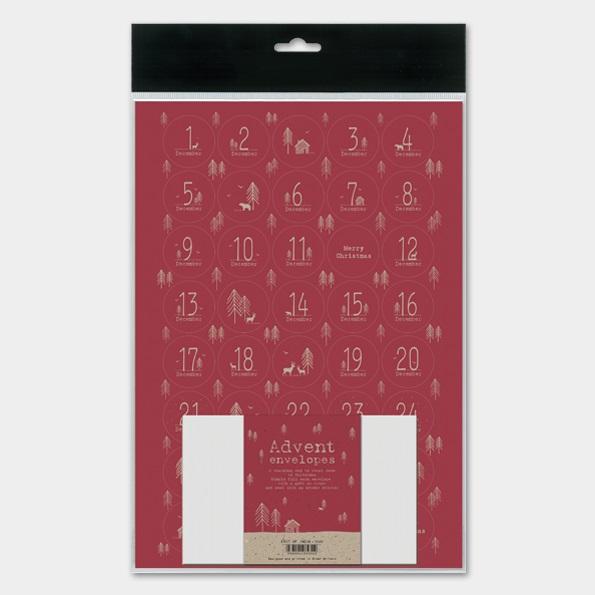 Kit pour calendrier de l\'Avent en papier rouge