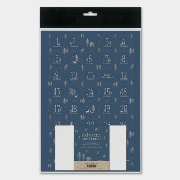Kit pour calendrier de l\'Avent en papier bleu