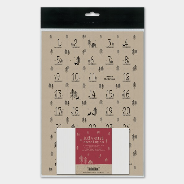 Kit pour calendrier de l\'Avent en papier kraft