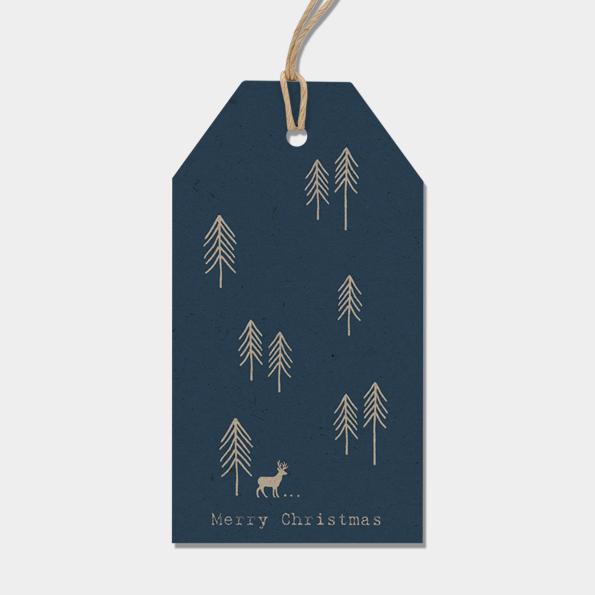 Noël - 6 grandes étiquettes épaisses bleues