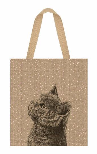 Shopping bag - Grand sac en jute chat