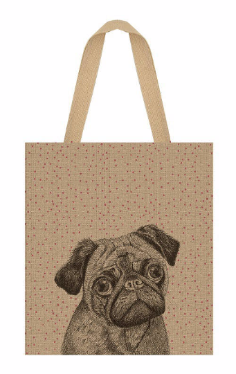 Shopping bag - Grand sac en jute chien