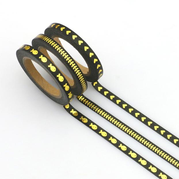 Slim tape - 3 rouleaux de masking tape or et noir