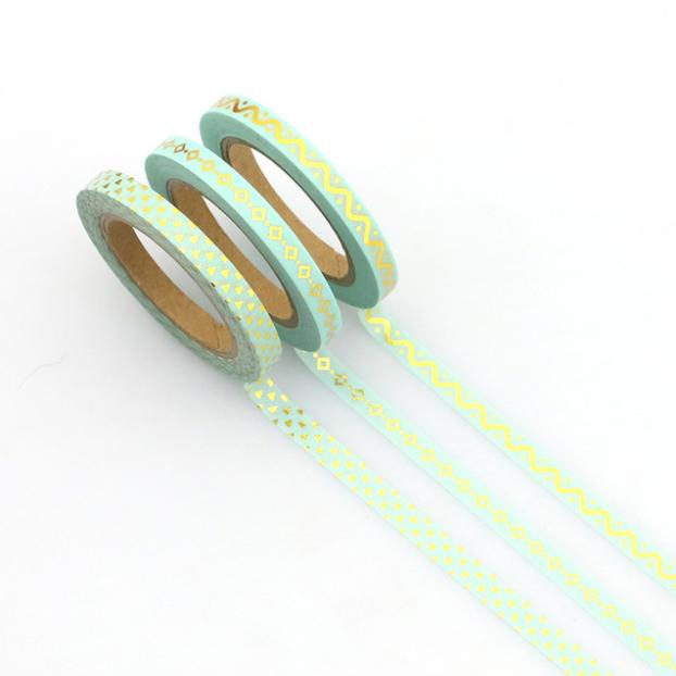 slim tape turquoise et or