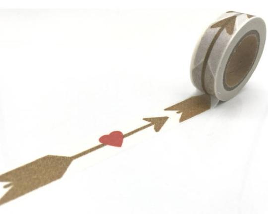 Brown - Masking tape avec flèches et coeurs