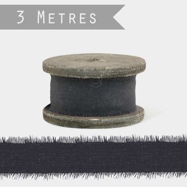Vintage - Joli ruban en lin noir