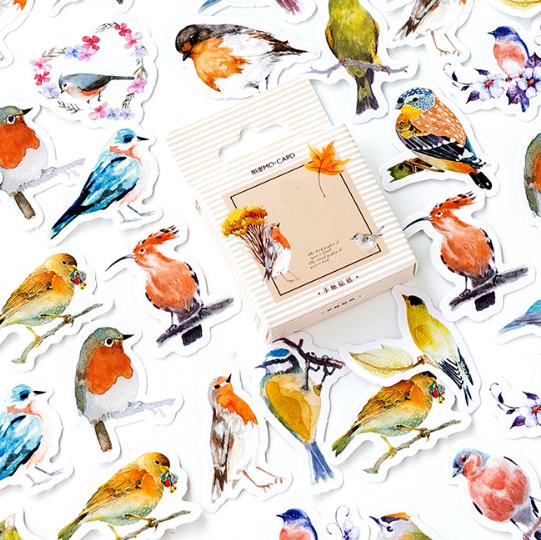 Birdy - 45 autocollants oiseaux
