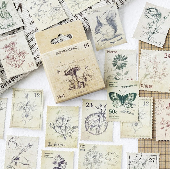 Vintage - 46 stickers timbres