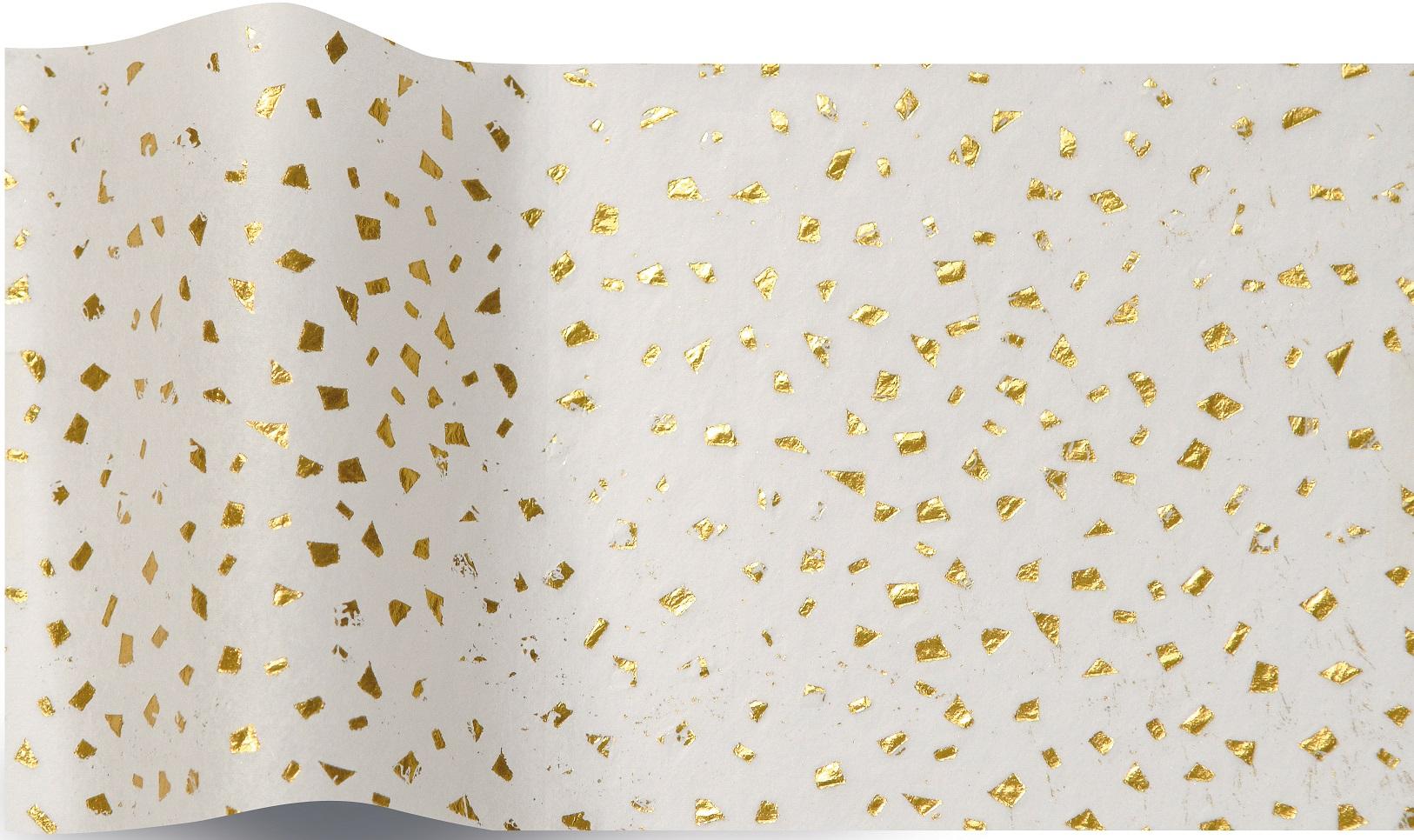 Or - 5 feuilles de papier de soie blanc avec éclats dorés