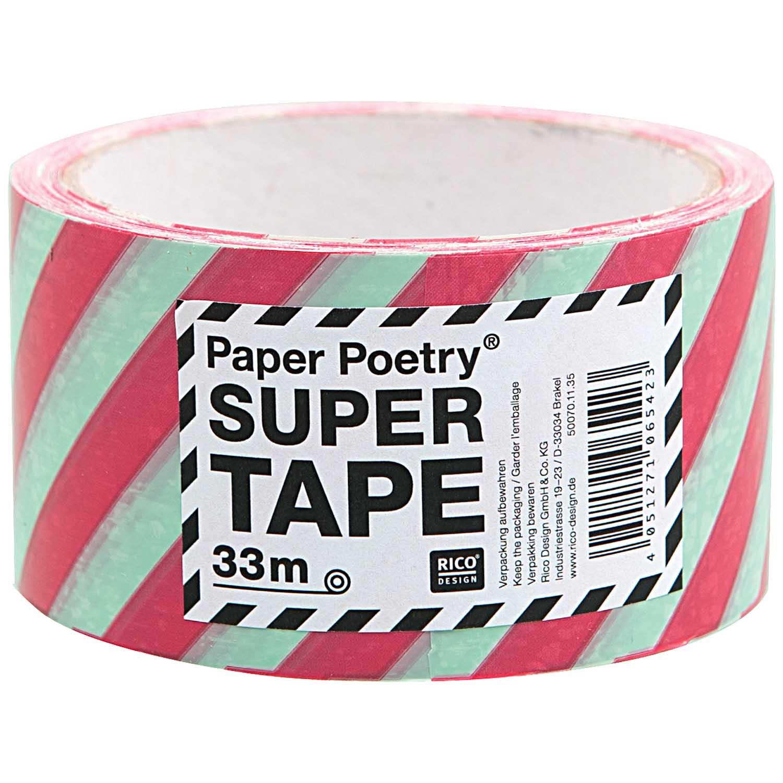 Stripe - Ruban d\'emballage rouge et menthe 33m