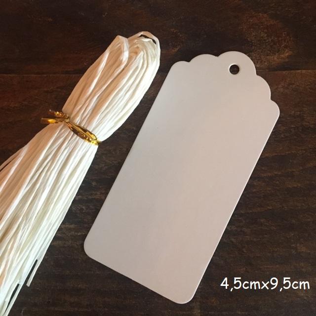 Blanc - 100 étiquettes tag festonnées