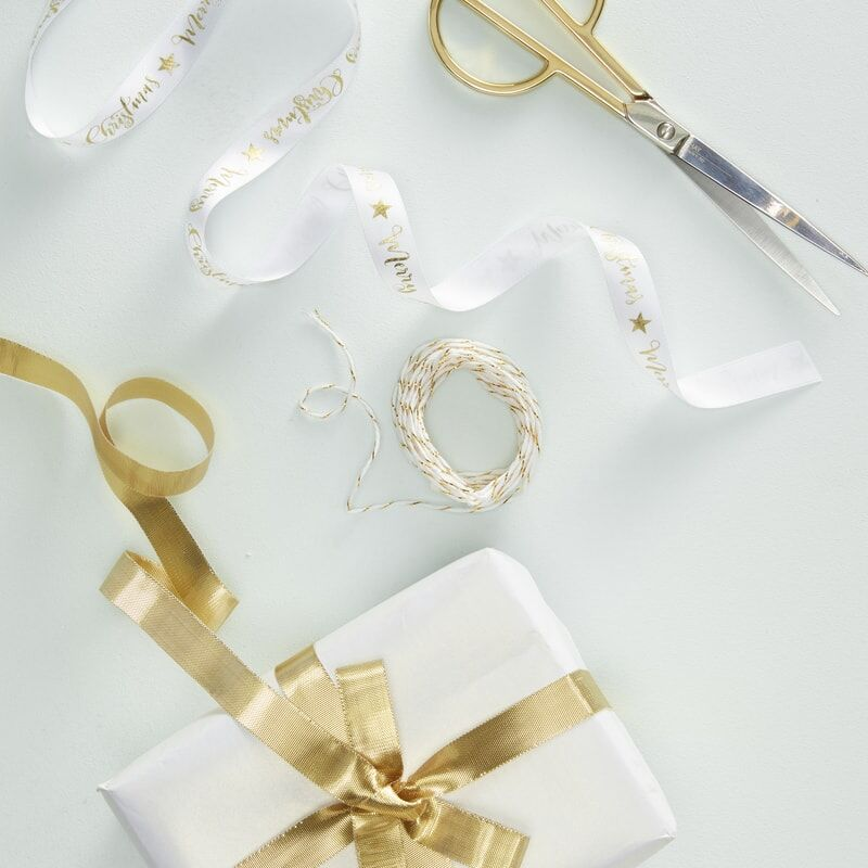 Kit de 3 rubans de Noël dorés