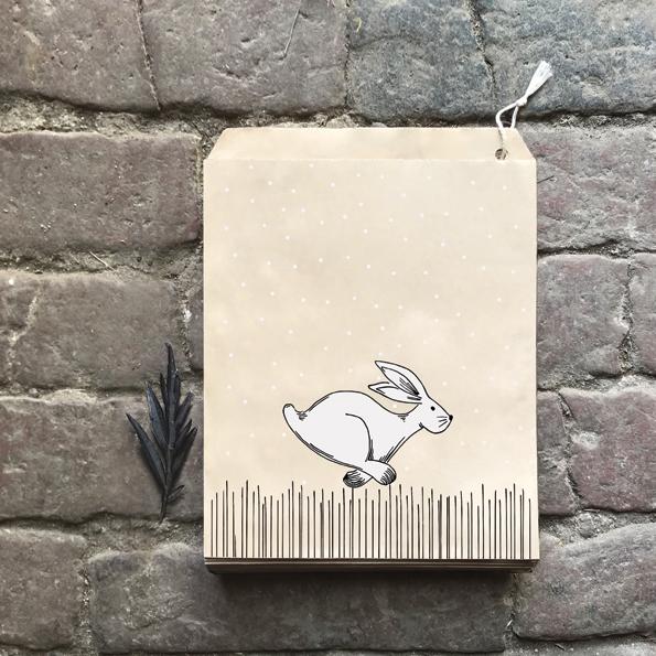 Kraft - 10 sachets papier avec un lièvre
