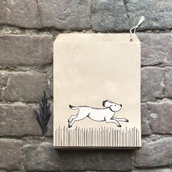 Kraft - 10 sachets papier avec un chien