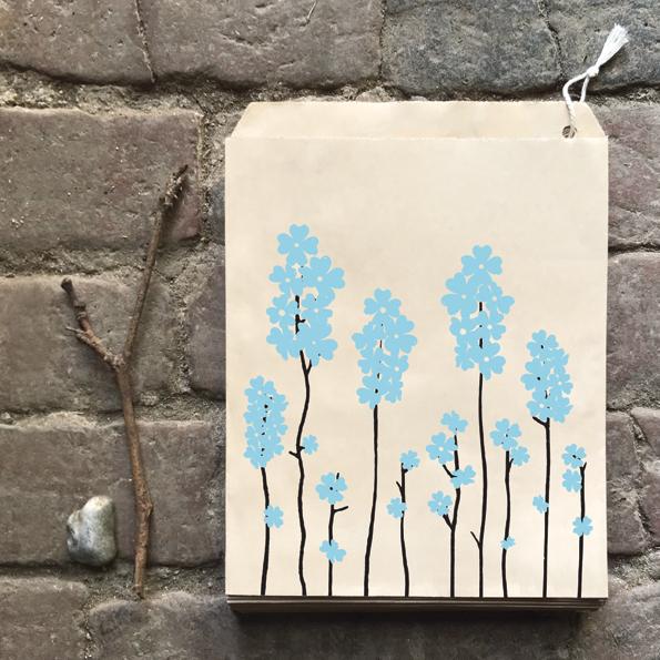 pochette kraft fleurs