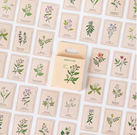Botanique - 46 petits autocollants avec des fleurs