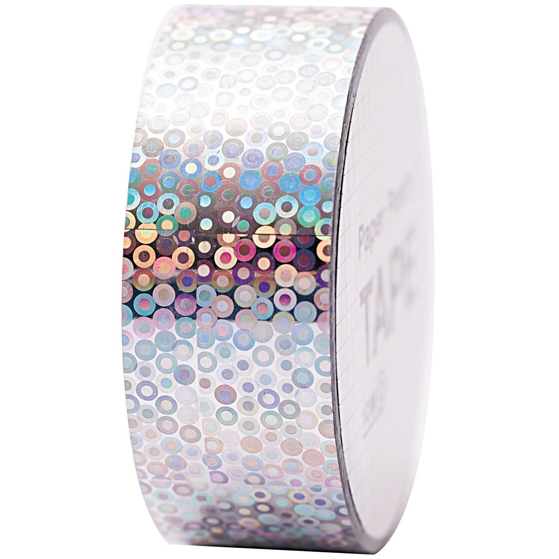 Cercles - Ruban adhésif holographique argent