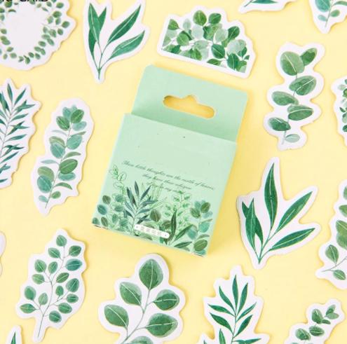 mini sticker avec des feuilles