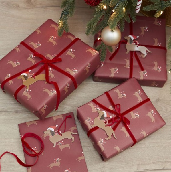 paquet cadeau avec des chiens