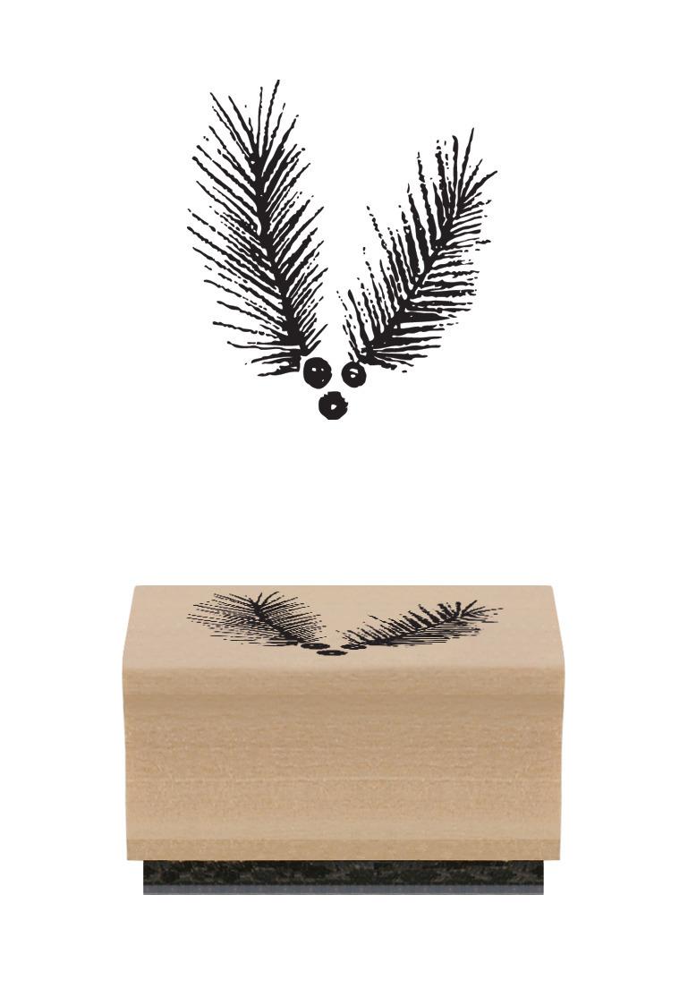 Branche de houx - Tampon bois