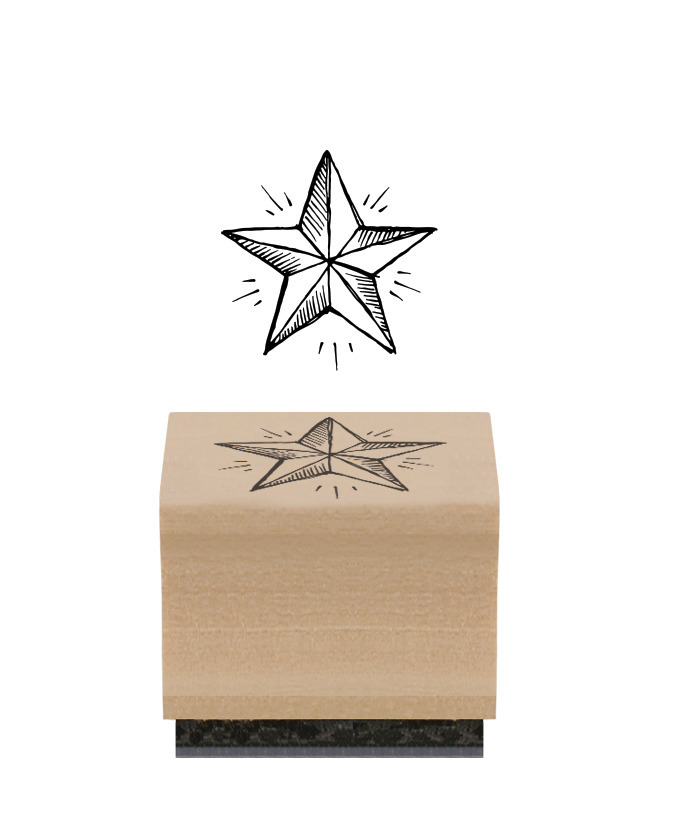 Etoile - Tampon bois